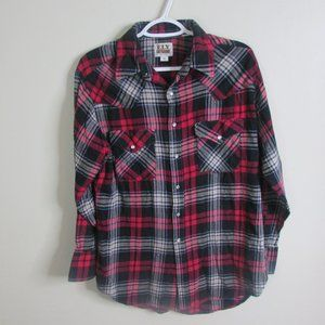 Ely Cattleman Pearl Snap Shirt M Red Black Plaid